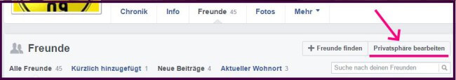 Facebook Freundesliste verbergen 2